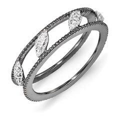 Stackable Expressions Sterling Silver Ruthenium-plated Diamond Jacket Ring