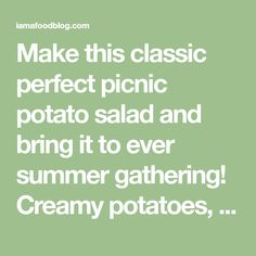 Make this classic perfect picnic potato salad and bring it to ever summer gathering! Creamy potatoes, crunchy celery, onions, and eggs combine into a salad you'll be making and eating over and over again thanks to a secret ingredient: rice vinegar for tang. #potatosalad #potatoes #recipes #potatosaladrecipe Happy Potato, Asian Salads, Yellow Potatoes, Creamy Potato Salad, Potato Rice, Peeling Potatoes, Potato Skins, Backyard Bbq