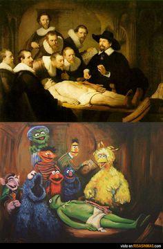 Clase de anatomía. De Rembrandt a Barrio Sésamo.