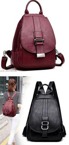 Elegant Small Single Button Multifunction Shoulder Bag Pu Mini Girl s  Backpack  backpack  Bag   14a01c543f56d