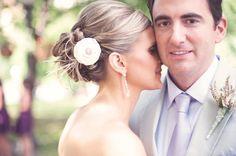 purple grooms tie, ivory flower hair piece, classic wedding, minnesota wedding, paper antler photogr