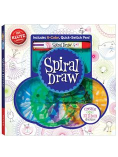 Round and round and round it goes! Spiral Draw: Create One Zillion Designs from Klutz features a handy paperback with tons of work space to turn the gear drawing wheels into intricate and impressive designs. With lots of project ideas and a special pen that puts 6 rainbow colors at your fingertips, one zillion Spiral Draw designs may be only the beginning.