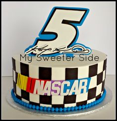 Birthday Cakes - Buttercream cake with modeling chocolate decorations made for a boy whose favorite Nascar driver is Kasey Kahne.