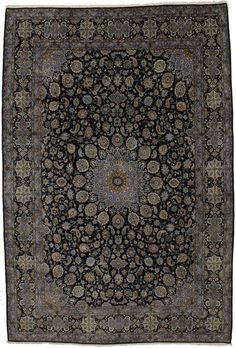 Indo Kashan. Persian Rugs. Excellent for its age! (Great Shape - Palace Size - Abrash). Oriental Rugs. Oversized Runner. Navy Blue, Periwinkle, Ivory, Tan, Red, Green, Olive, etc. Extra Large. | #persian #oriental #handmade #rug #homedecor