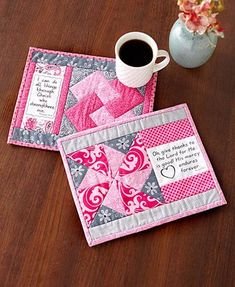 Mug Mats Quilting Kit. Anyone who quilts will enjoy working with a Mug Mats Quilting Kit to make gifts for their friends. Each kit comes with 7 different inspirational saying blocks and easy-to-follow, step-by-step instructions for 7 different quilt patterns.