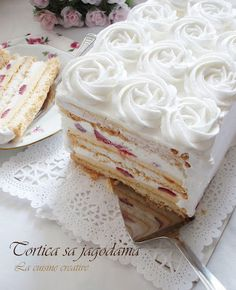 Torta sa Jagodama, Bosnian for Cake with Strawberries – Beautiful layered strawberry dessert with a vanilla custard filling, and a 2nd whipped cream + sour cream filling.