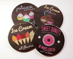Drink Coasters, Coasters, Hostess Gift, Tableware, Housewarming Gift, Ice Cream, Donuts, Cupcakes, Wine Coasters (5114)