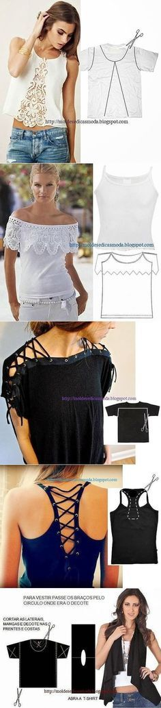 Ideas for diy clothes refashion tshirt tanks Kleidung Design, Diy Kleidung, Diy Fashion, Ideias Fashion, Fashion Design, Moda Fashion, Fashion Ideas, Clothing Patterns, Dress Patterns