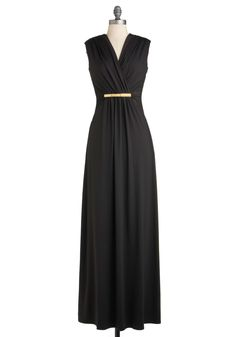 Nightfall for You Dress by Max and Cleo - Long, Black, Solid, Party, Sleeveless, Fall, Maxi, Film Noir, Vintage Inspired, 70s, Luxe