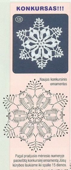 Crochet Patterns Christmas Christmas decorations on Stylowi. Crochet Snowflake Pattern, Crochet Stars, Crochet Motifs, Crochet Snowflakes, Crochet Diagram, Thread Crochet, Crochet Flowers, Crochet Stitches, Knit Crochet