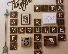 Farmhouse Wall DecorLarge Scrabble Wall TilesDistressed Home Decor Handcrafted Home DecorGallery WallScrabble Tiles Wedding Gift Scrabble Tile Wall Art, Wooden Scrabble Tiles, Wall Tiles, Wall Décor, Backsplash Tile, Wooden Wall Decor, Rustic Farmhouse Decor, Rustic Decor, Farmhouse Table