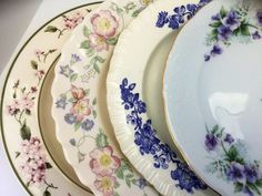 Mismatch Dinner Plates Set of 4 Blues, Purples, Greens, Off White Bone China Vintage Wedgewood Royal Kent Arcopal MSE Shabby Cottage