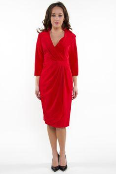 Sukienka kopertowa dekolt szalowy czerwona