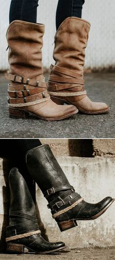 7e13fb4fcc4805 Vintage Adjustable Buckle Boots Plus Size Back Zipper Boots Fashion  Outfits