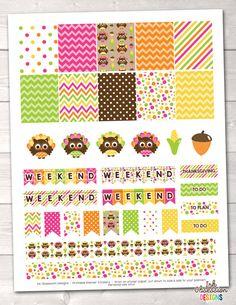 Printable Thanksgiving Owls Planner Stickers Instant Download November Sticker Set PDF Digital File