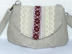 Burlap linen purse Bag - Handmade folk-style crossbody purse clutch!! Grey color purse bag. Rustic style wedding purse bag, ethnic style bag by Jolanyasewing on Etsy