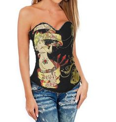 Black Sexy Magic Printed Rhinestone Corset #Black #Wholesale #lingeriefirst