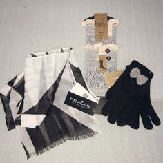 BOC boot toppers set in gray knit with button and lace trim, black knit gloves set each with a knit gray bow accessory, and black and white lightweight scarf. All one-size fit. | eBay!