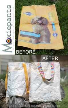 Dog food bag into reusable shopping bags!