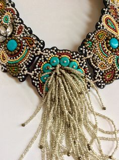 Bead Embroidery Necklace with Rocaille Fringe by perlinibella