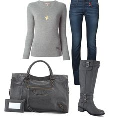 A fashion look from March 2015 featuring Burberry sweaters, Replay jeans and Balenciaga handbags. Browse and shop related looks.