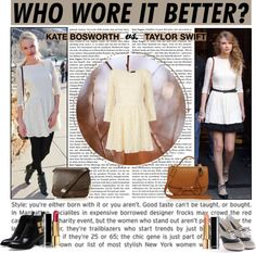 """WHO WORE IT BETTER: Kate Bosworth vs. Taylor Swift"" by annaisdreaming ❤ liked on Polyvore"