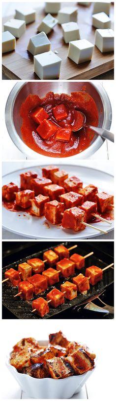 Spicy Sriracha Grilled Tofu