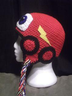 Lightning McQueen Crochet Hat with Wheels by CrochetByJulianne Crochet Kids Hats, Crochet Beanie Hat, Crochet For Boys, Cute Crochet, Beautiful Crochet, Crochet Crafts, Crochet Clothes, Crochet Projects, Knitted Hats
