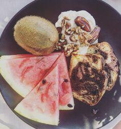 Fruity breakfast by the beach at Mykonos Blanc hotel, Greek Islands.   #mykonos #foodie #healthyeating #breakfast
