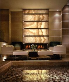 ** Back lit Onyx Living Room Fireplace Luxury Home Decor, Luxury Interior Design, Luxury Homes, Fireplace Wall, Fireplace Design, Wall Design, House Design, Patio Interior, Palaces
