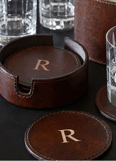 personalized leather coaster