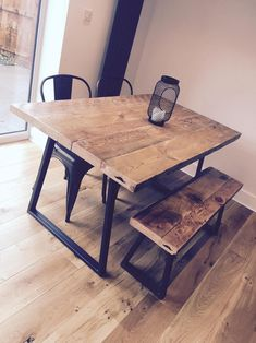 Bespoke handmade table with or without bench Holzbearbeitung , Kitchen Table Bench, Small Kitchen Tables, Dining Table With Bench, Dinning Room Tables, Small Dining, Diy Table, Wooden Dining Tables, Timber Table, Handmade Table