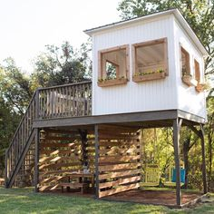 Garden - 47 Incredible Backyard Storage Shed Design and Decor Ideas - Cubby Houses, Play Houses, Outdoor Spaces, Outdoor Living, Backyard Storage Sheds, Build A Playhouse, Backyard Playhouse, Modern Playhouse, Kids Playhouse Plans