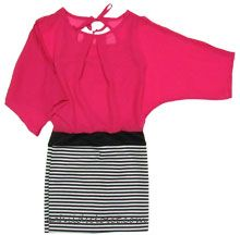 With a pink 3/4 length sleeve and black and white striped bottom with black strip to separate them is made to look like 2 pieces sally miller dress <3