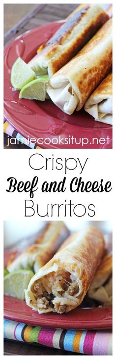 Crispy Beef and Cheese Burritos from Jamie Cooks It Up! These crispy burritos can be made in about 15 minutes and make good use out of leftover taco meat and rice. Meat Recipes, Mexican Food Recipes, Cooking Recipes, Vegetarian Mexican, Hamburger Recipes, Mexican Dishes, Rice Recipes, Vegetarian Recipes, Recipies