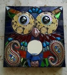 Wise old owl. Mixed media mosaic.