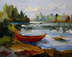 Red Canoe, painting by artist Delilah Smith
