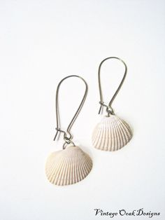 Seashell Earrings Shell Earrings Beach by VintageOoakDesigns