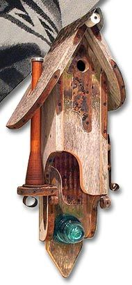 wooden birdhouse… made from Pendleton woolen mill bobbins and other re-purposed materials!