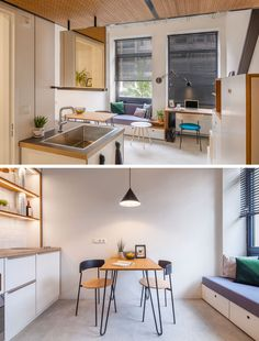 Standard Studio have designed the Hermes City Plaza Student Housing in Rotterdam, The Netherlands, that were inspired by the tiny house movement. Small Apartment Interior, Small Apartment Design, Apartment Kitchen, Micro Apartment, Tiny Spaces, Small Apartments, Interior Fit Out, Interior Design, Built In Couch