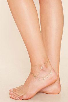 Rhinestone Charm Anklet Set   Forever 21 - 1000221862