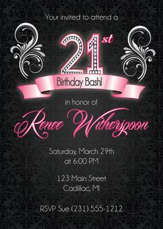 21st Birthday Invitation, 21st Birthday Party Invitation - Silver Ornate Party Invite
