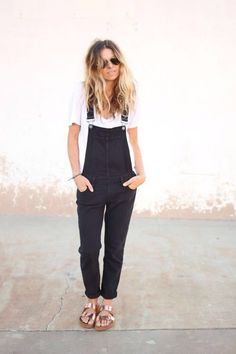 black overalls & rose gold sandals #style #fashion