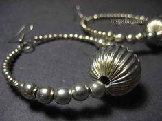 E2607 Belly dance silver tone bead banjara hoop HANDMADE fashion EARRINGS Indian nepalagora #Handmade