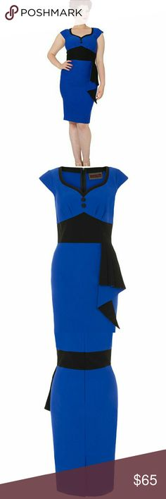 """VOODOO VIXEN MADELYN BENGALINE PENCIL DRESS The Madelyn Bengaline Pencil Dress by Voodoo Vixen Apparel.  Navy blue rockabilly dress with black detail.  Has a center back zipper.  Great Pin Up style dress.  This retro style shows off your figure. XL       Bust 40""""  Waist 34"""" Voodoo Vixen Dresses Midi"""