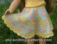 American Girl Doll Flared Buttercup Skirt http://www.abc-knitting-patterns.com/1201.html