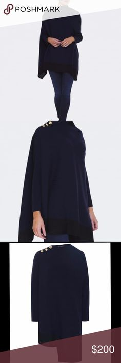 Rag and Bone Reanna Poncho RAG AND BONE  blue Reanna asymmetric-knit Merino Wool  Poncho. Gold buttons at neck. Length from shoulder to bottom approx 27 inches. Absolutely beautiful! No holes, stains or snags. rag & bone Sweaters