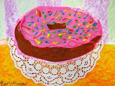 Cassie Stephens: In the Art Room: Time to Make the Donuts with doily Art Education Projects, Easy Art Projects, Class Projects, School Projects, Kids Art Class, Art For Kids, 2nd Grade Art, Grade 3, Fourth Grade