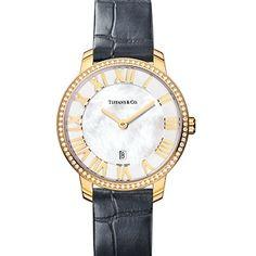 Atlas® dome watch in 18k gold with diamonds, quartz movement.
