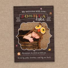 Fall Baby Birth Announcement, Halloween & Thanksgiving Theme, DIY Printable